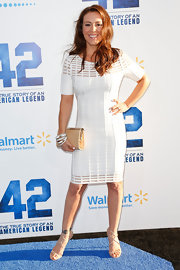 Alyssa Milano rocked this fitted white dress while out at the premiere of '42' in Hollywood.