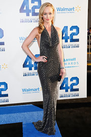 Kelley Jakle chose a figure-flattering beaded dress, which featured a draped halter neck and a fit-and-flare skirt.