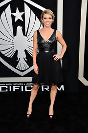 Mary Elizabeth Ellis updated the LBD with a frock that featured a leather V-neck bodice and a tulle circle skirt.