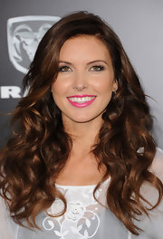Audrina Patridge wore a bold shade of pearly fuchsia lipstick for the premiere of 'The Lucky One.'
