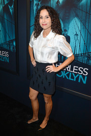Minnie Driver kept it simple in a short-sleeve white button-down at the premiere of 'Motherless Brooklyn.'