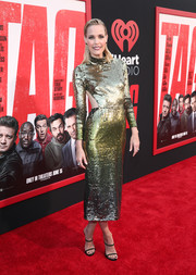 Leslie Bibb looked party-ready in an ombre sequined cutout dress by Temperley London at the premiere of 'Tag.'
