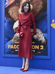 Sally Hawkins kept it simple yet chic in a belted red midi dress by Edeline Lee at the premiere of 'Paddington 2.'