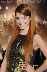 Alexis Knapp attended the premiere of 'Project X' wearing a deep metallic blue nail polish.
