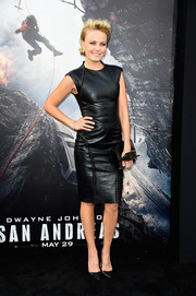 Malin Akerman went for a rocker edge in a tight black leather dress during the 'San Andreas' premiere.
