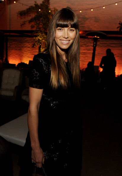 More Pics of Jessica Biel Long Straight Cut with Bangs (1 of 3) - Jessica Biel Lookbook - StyleBistro