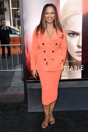 Garcelle Beauvais looked smart in a belted orange pea coat at the premiere of 'Unforgettable.'