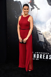Emmanuelle Chriqui was breezy-chic in a red wide-leg jumpsuit during the 'San Andreas' premiere.