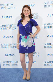 Sarah Drew arrived at the premiere of 'Something Borrowed' in a cheery blue day dress.