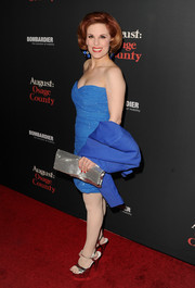 Kat Kramer attended the 'August: Osage County' LA premiere wearing a strapless blue cocktail dress.