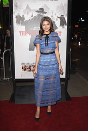 Zendaya Coleman worked the sheer trend in this embroidered periwinkle dress by Self-Portrait at the premiere of 'The Hateful Eight.'