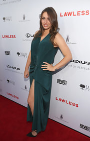 Sophie Simmons showed off her legs with a draped silk dress at the premiere of 'Lawless.'