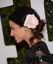 Emmanuelle Chriqui sported a romantic loose bun, complete with a flower hairpin, when she attended the 'Mandela: Long Walk to Freedom' Hollywood premiere.