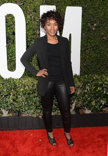 Angela Bassett pulled her edgy-chic look together with a pair of black mesh peep-toes.