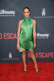 Dania Ramirez worked the 'No Escape' premiere red carpet in a green keyhole-cutout halter dress by The 2nd Skin Co.