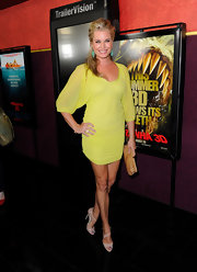 Rebecca wore a bold yellow cocktail dress with the fabulous Katie Lee sandals in nude patent leather.