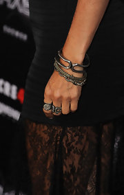 Courteney Cox finished her look with a variety of oxidized sterling silver and diamond bangles at the 'Scream 4' premiere.