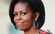 Michelle Obama looked super chic at the Cinco de Mayo celebration with this bob teamed with turquoise studded hoops.