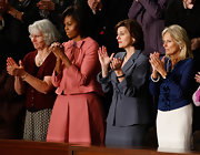 Michelle OBama wore a charming retro skirt suit to the Joint Session of Congress on Health Care.
