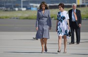 Melania Trump was in a matchy-matchy mood, pairing her coat with gingham-print pumps by Manolo Blahnik.