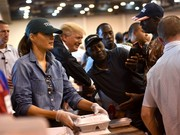 Melania Trump stayed comfy in a denim shirt while participating in Hurricane Harvey relief efforts.