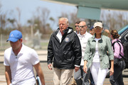 Melania Trump went rugged in an army-green utility jacket for a visit to Puerto Rico in the aftermath of Hurricane Maria.