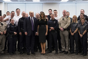 Melania Trump wore a simple black knit top when she met with police officers and first responders of the Route 91 Harvest Festival mass shooting.