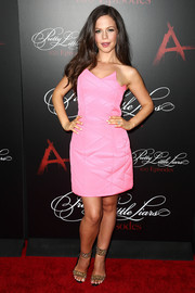 Tammin Sursok styled her girly dress with studded gold ankle-cuff sandals by Brian Atwood.