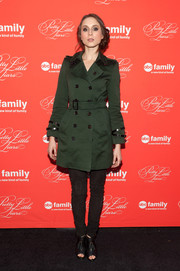 Troian Bellisario was edgy-sophisticated in a green trenchcoat teamed with black skinny jeans during the 'Pretty Little Liars' finale screening.