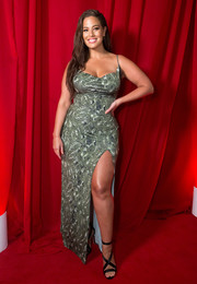 Ashley Graham sizzled in a high-slit snake-print gown at the PrettyLittleThing x Ashley Graham event.