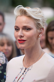 Charlene Wittstock wore her hair in a brushed-back fauxhawk at the Pique-Nique Monegasque.