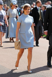 Princess Eugenie looked adorably retro in a baby-blue mini dress by Gainsbourg at the wedding of Prince Harry and Meghan Markle.