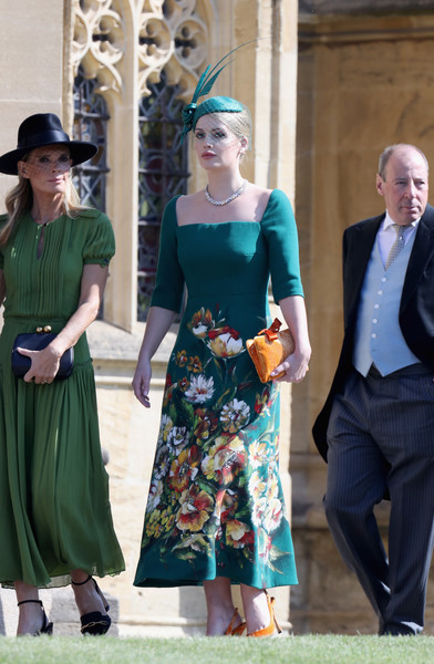 More Pics of Kitty Spencer Print Dress (1 of 9) - Kitty Spencer Lookbook - StyleBistro [clothing,green,fashion,dress,turquoise,street fashion,footwear,fashion design,headgear,style,harry,meghan markle,kitty spencer,ms.,doria ragland,guests,service,st georges chapel,windsor castle,wedding]