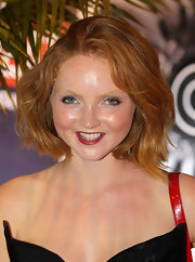 Lily Cole sported a cool textured bob at an event promoting British interests in Rio de Janeiro.