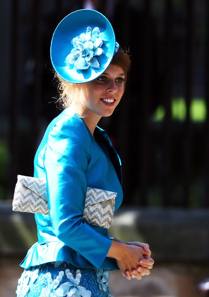 Princess Beatrice Decorative Hat [blue,turquoise,fashion,electric blue,performance,headpiece,headgear,photography,costume,mike tindall,zara phillips,beatrice,royal,granddaughter,queen,royals,edinburgh,canongate kirk,wedding]