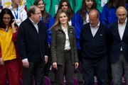Princess Letizia was menswear-chic in a military-style tweed jacket while watching the Volleyball Spanish Scholarship competition.
