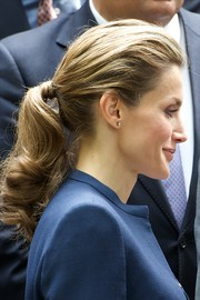 Princess Letizia wore a casual yet lovely curly ponytail while attending an event in Madrid.