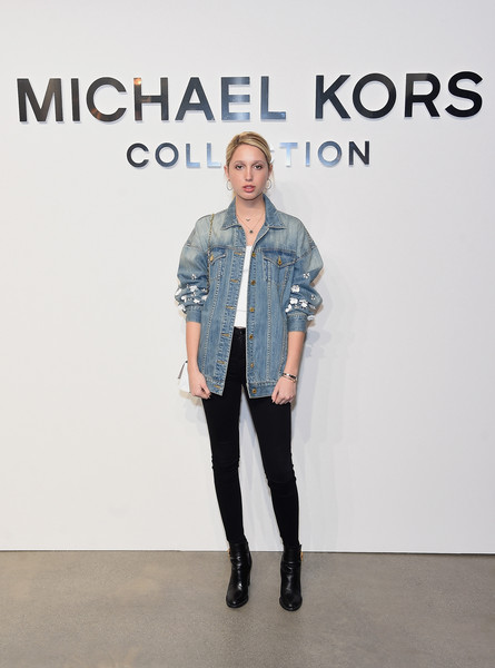 Princess Maria-Olympia of Greece and Denmark Ankle Boots [michael kors collection fall 2017 runway show,denim,clothing,jeans,fashion,footwear,outerwear,shoulder,jacket,knee,textile,maria-olympia of greece,front row,denmark,new york city,michael kors collection,spring studios,runway show]