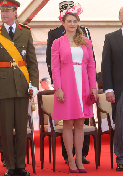 Princess Stephanie of Luxembourg Suede Clutch [pink,event,fashion,formal wear,outerwear,suit,blazer,carpet,flooring,luxembourg,luxembourg celebrates national day,parade,stephanie]