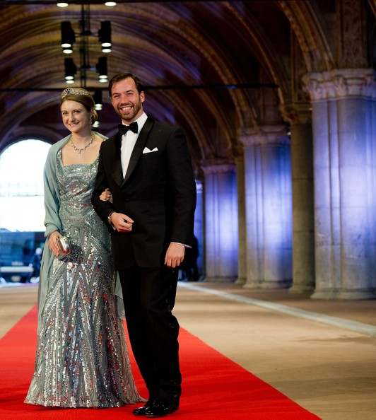 Princess Stephanie of Luxembourg Sequin Dress [formal wear,carpet,dress,event,suit,red carpet,gown,fashion,ceremony,flooring,beatrix of the netherlands,stephanie,guillaume,dinner,abdication,l-r,luxembourg,rijksmuseum,netherlands,dinner]