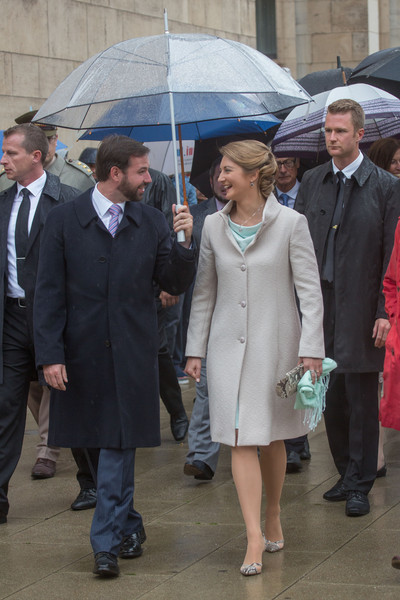 Princess Stephanie of Luxembourg Pumps [event,umbrella,suit,outerwear,uniform,fashion accessory,formal wear,white-collar worker,guillome,stephanie,luxembourg,esch,luxembourg celebrates national day,visit]