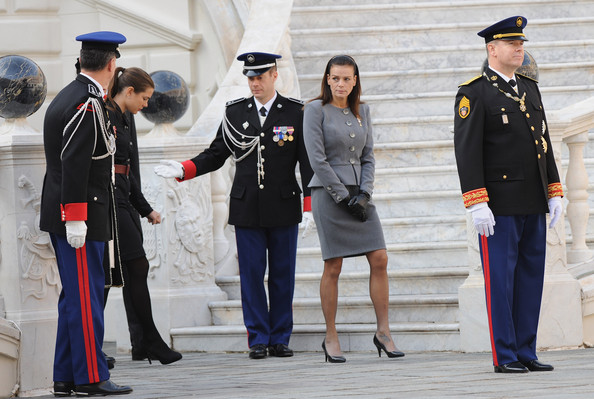 Princess Stephanie Skirt Suit [uniform,military officer,military uniform,official,military rank,security,event,gesture,military person,police officer,stephanie of monaco,albert ii,employees,rank,badges,medals,monaco,cathedrale notre-dame immaculee,monaco national day -celebration of mass,award ceremony]