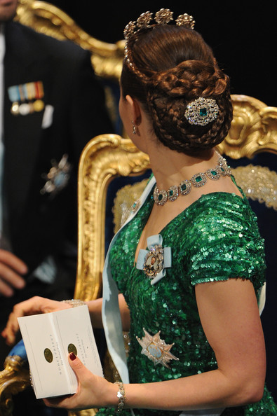 Princess Victoria Braided Updo [victoria,green,yellow,event,fashion accessory,performance,headpiece,hair accessory,crown,tradition,jewellery,stockholm,sweden,concert hall,nobel peace prize ceremony,nobel prize award ceremony]