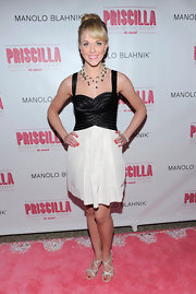 Ashley Spencer donned strappy silver sandals to the opening night of 'Priscilla Queen of the Desert.'