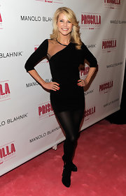 Christie looks spectacular in her little black dress for a musical on Broadway.