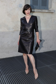 Milla Jovovich looked impeccable in a black leather dress at the 'TV 70: Francesco Vezzoli Guarda La Rai' private view.