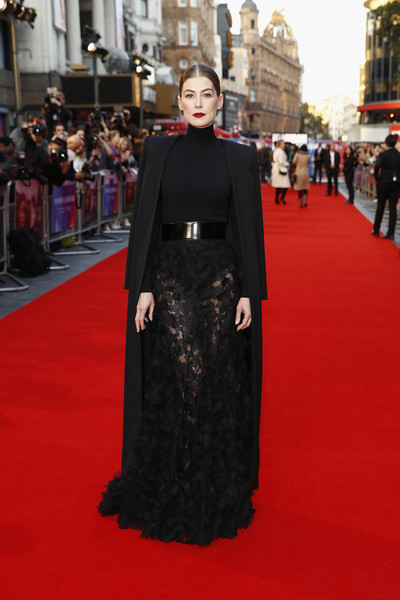 Rosamund Pike looked sultry in a sheer black maxi skirt by Givenchy Couture at the European premiere of 'A Private War.'