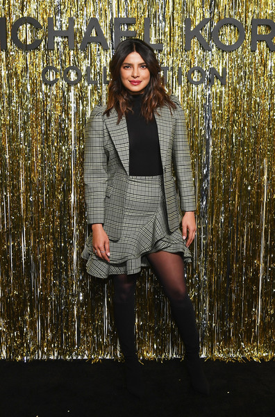 Priyanka Chopra Skirt Suit [clothing,fashion,yellow,beauty,tights,brown,tree,outerwear,footwear,photography,michael kors collection fall 2019 runway show,backstage,new york city,cipriani wall street,priyanka chopra]