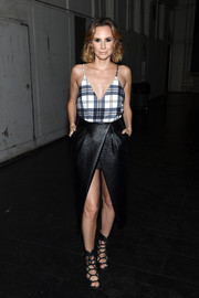 Keltie Knight went for an edgy finish with a black leather high-low skirt, also by Finders Keepers.