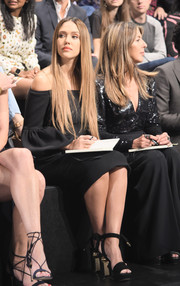 Jessica Alba looked perfectly polished in black Nicholas Kirkwood platform sandals and an off-the-shoulder LBD at the 'Project Runway' fashion show.